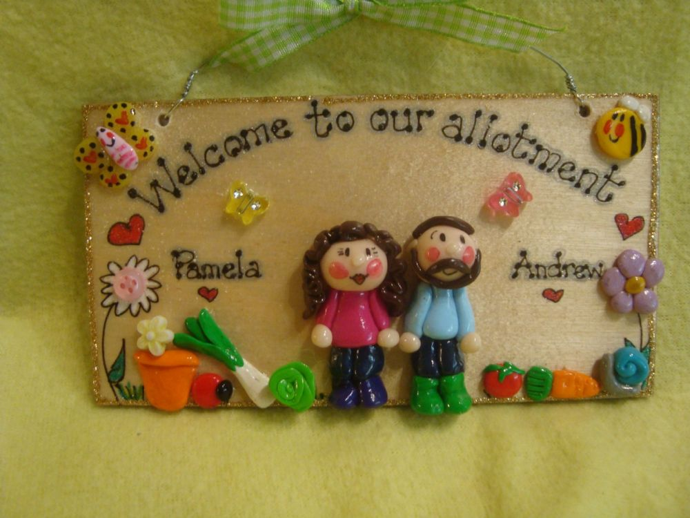 3d 2 Character Garden Shed Greenhouse Conservatory Patio Allotment  Personalised Sign Plaque